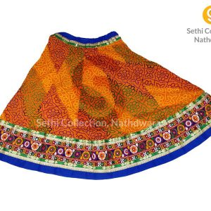 orange Bandhej kanch kachi border lehenga