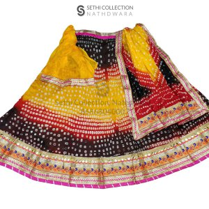 Black yellow red silk lehenga set sethi collection