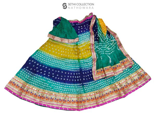 Blue yellow firozi silk lehenga set sethi collection