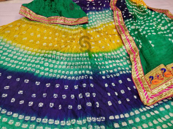 Blue yellow firozi silk lehenga set sethi collection shrinathji