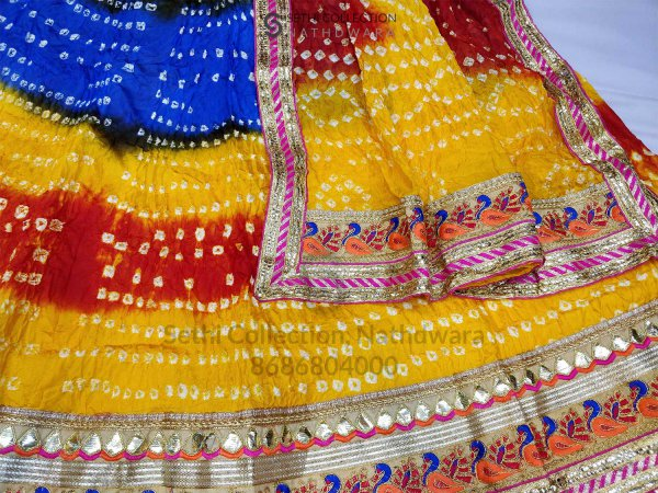 Blue yellow red silk lehenga set sethi collection shrinathji