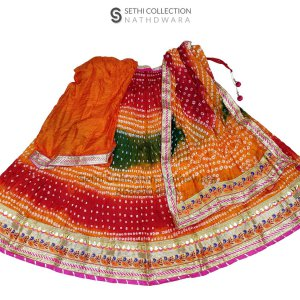 Orange red green tapeta silk lehenga set sethi collection