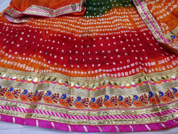 Orange red green tapeta silk lehenga set nathdwara