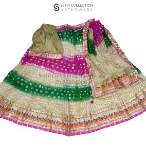 Tapeta silk lehenga set with Mor border in Pink-beige-green color