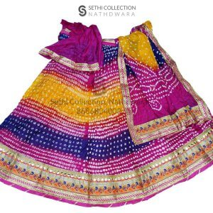 Pink blue red tapeta silk lehenga set mor border sethi collection