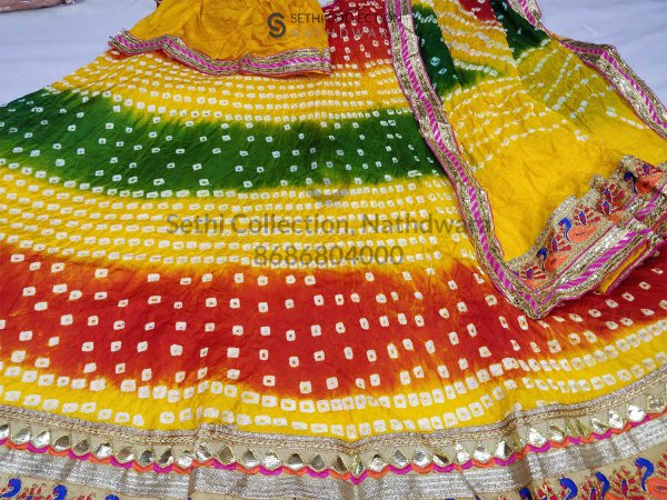 Red Green yellow tapeta silk lehenga set nathdwara