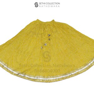 Traditional lemon yallow Leheriya Lehenga golden border Long Flared Skirt for Party sethi collection